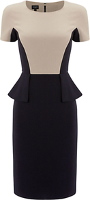 Olivia Dress, Navy Calico - style: shift; fit: tailored/fitted; waist detail: peplum waist detail; predominant colour: nude; secondary colour: black; occasions: evening, occasion; length: just above the knee; fibres: polyester/polyamide - stretch; neckline: crew; sleeve length: short sleeve; sleeve style: standard; pattern: colourblock; texture group: jersey - stretchy/drapey