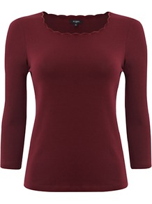 Rena Top, Black Cherry - pattern: plain; predominant colour: burgundy; occasions: casual; length: standard; style: top; fibres: cotton - stretch; fit: body skimming; neckline: crew; sleeve length: 3/4 length; sleeve style: standard; pattern type: fabric; texture group: jersey - stretchy/drapey