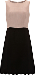 Aubrey Sleeveless Shift Dress, Black Blush - style: shift; fit: tailored/fitted; sleeve style: sleeveless; waist detail: fitted waist; predominant colour: nude; secondary colour: black; occasions: evening, occasion; length: just above the knee; fibres: viscose/rayon - 100%; neckline: crew; sleeve length: sleeveless; texture group: cotton feel fabrics; pattern: colourblock