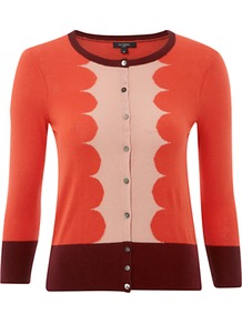 Kew Cardigan, Multi - neckline: round neck; bust detail: buttons at bust (in middle at breastbone)/zip detail at bust; secondary colour: blush; predominant colour: bright orange; occasions: casual; length: standard; style: standard; fibres: silk - mix; fit: standard fit; sleeve length: 3/4 length; sleeve style: standard; texture group: knits/crochet; pattern type: knitted - fine stitch; pattern size: big & light; pattern: colourblock