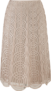 Cornelli Flare Skirt, Buff - length: below the knee; pattern: plain; fit: body skimming; waist: mid/regular rise; predominant colour: stone; occasions: evening, work, occasion; style: fit &amp; flare; fibres: viscose/rayon - 100%; texture group: lace; pattern type: fabric