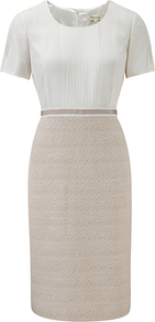 Tweed/Silk Shift Dress, Buff - style: shift; neckline: round neck; fit: tailored/fitted; pattern: plain; bust detail: ruching/gathering/draping/layers/pintuck pleats at bust; secondary colour: ivory; predominant colour: stone; occasions: evening, work; length: on the knee; fibres: silk - mix; hip detail: contrast fabric/print detail at hip; waist detail: narrow waistband; sleeve length: short sleeve; sleeve style: standard; pattern type: fabric; pattern size: standard; texture group: tweed - light/midweight