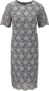Floral Georgette Dress, Pewter - style: shift; neckline: round neck; secondary colour: white; predominant colour: charcoal; occasions: evening, occasion; length: on the knee; fit: straight cut; sleeve length: short sleeve; sleeve style: standard; texture group: cotton feel fabrics; pattern type: fabric; pattern size: standard; pattern: florals; embellishment: embroidered; fibres: viscose/rayon - mix