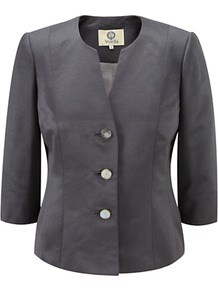 Ottoman Jacket, Pewter - pattern: plain; style: single breasted blazer; collar: round collar/collarless; predominant colour: charcoal; length: standard; fit: tailored/fitted; fibres: polyester/polyamide - 100%; occasions: occasion; sleeve length: 3/4 length; sleeve style: standard; collar break: high; pattern type: fabric; texture group: woven light midweight