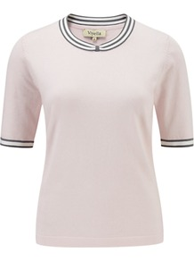 Bow Tipped Jumper, Shell Pink - pattern: plain; style: standard; predominant colour: blush; occasions: casual, work; length: standard; fibres: cotton - mix; fit: standard fit; neckline: crew; sleeve length: short sleeve; sleeve style: standard; texture group: knits/crochet; pattern type: knitted - fine stitch