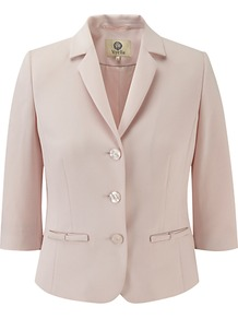 Moss Crepe Jacket, Shell Pink - pattern: plain; style: single breasted blazer; length: cropped; collar: standard lapel/rever collar; predominant colour: blush; occasions: evening, work, occasion; fit: tailored/fitted; fibres: polyester/polyamide - stretch; sleeve length: 3/4 length; sleeve style: standard; texture group: crepes; collar break: medium; pattern type: fabric