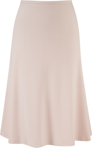 Moss Crepe Skirt, Shell Pink - pattern: plain; fit: body skimming; waist: mid/regular rise; predominant colour: blush; occasions: evening, work; length: just above the knee; style: fit & flare; fibres: polyester/polyamide - stretch; hip detail: soft pleats at hip/draping at hip/flared at hip; waist detail: narrow waistband; texture group: crepes; pattern type: fabric