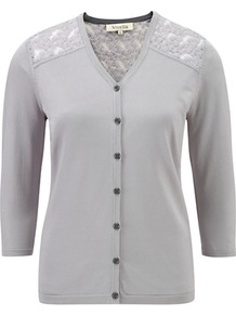 Lace Yoke Cardigan, Silver - neckline: v-neck; pattern: plain; shoulder detail: contrast pattern/fabric at shoulder; back detail: contrast pattern/fabric at back; bust detail: buttons at bust (in middle at breastbone)/zip detail at bust; predominant colour: light grey; occasions: casual, evening, work; length: standard; style: standard; fit: standard fit; sleeve length: 3/4 length; sleeve style: standard; texture group: knits/crochet; pattern type: knitted - fine stitch; fibres: viscose/rayon - mix; embellishment: lace