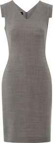 Millbank Dress, Dove Ivory - style: shift; neckline: v-neck; sleeve style: capped; fit: tailored/fitted; pattern: plain; predominant colour: mid grey; occasions: work; length: just above the knee; fibres: wool - 100%; sleeve length: sleeveless; pattern type: fabric; texture group: woven light midweight