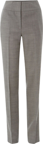 Millbank Trousers, Dove Ivory - length: standard; pattern: plain; waist: high rise; predominant colour: mid grey; occasions: casual, evening, work; fibres: wool - 100%; fit: straight leg; pattern type: fabric; texture group: woven light midweight; style: standard