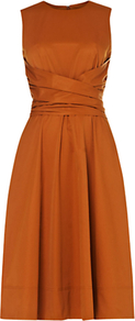 Twitchill Dress, Ginger - pattern: plain; sleeve style: sleeveless; style: full skirt; back detail: tie detail at back; waist detail: twist front waist detail/nipped in at waist on one side/soft pleats/draping/ruching/gathering waist detail; predominant colour: bronze; occasions: evening, work, occasion; length: on the knee; fit: fitted at waist & bust; fibres: cotton - mix; neckline: crew; hip detail: soft pleats at hip/draping at hip/flared at hip; sleeve length: sleeveless; texture group: structured shiny - satin/tafetta/silk etc.; pattern type: fabric