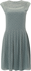 Nw3 Hobbs Loops Dress, Lichen Multi - sleeve style: capped; waist detail: fitted waist; bust detail: ruching/gathering/draping/layers/pintuck pleats at bust; predominant colour: sage; secondary colour: light grey; occasions: evening, work, occasion; length: just above the knee; fit: fitted at waist & bust; style: fit & flare; fibres: polyester/polyamide - 100%; neckline: crew; hip detail: soft pleats at hip/draping at hip/flared at hip; shoulder detail: flat/draping pleats/ruching/gathering at shoulder; sleeve length: short sleeve; texture group: sheer fabrics/chiffon/organza etc.; trends: volume; pattern type: fabric; pattern size: small & busy; pattern: florals