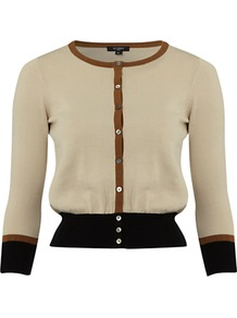 Heath Cardigan, Natural Bronze - neckline: round neck; predominant colour: nude; secondary colour: black; occasions: casual, work; length: standard; style: standard; fibres: cotton - 100%; fit: slim fit; sleeve length: 3/4 length; sleeve style: standard; texture group: knits/crochet; pattern type: knitted - fine stitch; pattern size: small & light; pattern: colourblock