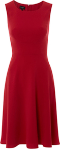 Tate Dress, Sorbet - pattern: plain; sleeve style: sleeveless; style: full skirt; waist detail: fitted waist; predominant colour: true red; occasions: evening, work; length: just above the knee; fit: fitted at waist & bust; fibres: polyester/polyamide - mix; neckline: crew; hip detail: soft pleats at hip/draping at hip/flared at hip; sleeve length: sleeveless; pattern type: fabric; texture group: jersey - stretchy/drapey