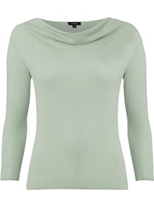 Whitstable Cowl Neck Top, Sorbet - neckline: cowl/draped neck; pattern: plain; predominant colour: pistachio; occasions: casual, work; length: standard; style: top; fibres: cotton - 100%; fit: body skimming; sleeve length: 3/4 length; sleeve style: standard; texture group: cotton feel fabrics; pattern type: fabric