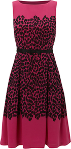 Invitation Larna Dress, Rose Petal Black - sleeve style: sleeveless; style: full skirt; waist detail: belted waist/tie at waist/drawstring; predominant colour: hot pink; secondary colour: black; occasions: evening, occasion; length: just above the knee; fit: fitted at waist & bust; fibres: polyester/polyamide - 100%; neckline: crew; sleeve length: sleeveless; texture group: cotton feel fabrics; pattern type: fabric; pattern size: small & busy; pattern: animal print