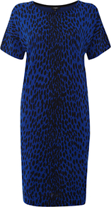 Niamh Dress, Sea Blue Black - style: shift; length: below the knee; neckline: round neck; predominant colour: royal blue; secondary colour: black; occasions: casual; fit: straight cut; fibres: cotton - 100%; sleeve length: short sleeve; sleeve style: standard; texture group: knits/crochet; pattern type: knitted - fine stitch; pattern size: standard; pattern: animal print