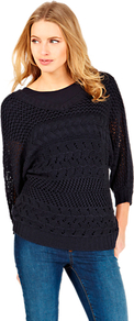 Cable Batwing Jumper, Navy - sleeve style: dolman/batwing; pattern: plain; style: standard; predominant colour: navy; occasions: casual; length: standard; fibres: cotton - 100%; fit: standard fit; neckline: crew; sleeve length: 3/4 length; texture group: knits/crochet; pattern type: knitted - other