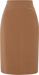 Romaine Skirt, Mink - pattern: plain; style: pencil; fit: tailored/fitted; waist detail: wide waistband/cummerbund; waist: high rise; predominant colour: tan; occasions: evening, work; length: just above the knee; fibres: polyester/polyamide - stretch; texture group: crepes; pattern type: fabric