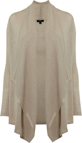 Keira Cardigan, Stone - pattern: plain; neckline: waterfall neck; length: below the bottom; style: open front; predominant colour: stone; occasions: casual, work; fibres: linen - mix; fit: standard fit; sleeve length: long sleeve; sleeve style: standard; texture group: knits/crochet; pattern type: knitted - fine stitch