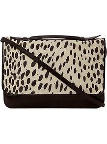 Perdita Bag, Black Leopard - secondary colour: ivory; predominant colour: black; occasions: casual, work; type of pattern: large; style: satchel; length: across body/long; size: standard; material: leather; pattern: animal print; finish: plain
