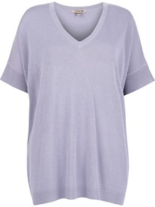 Slouchy V Neck Jumper, Lilac - neckline: v-neck; pattern: plain; length: below the bottom; style: standard; predominant colour: lilac; occasions: casual, work; fibres: wool - mix; fit: loose; sleeve length: short sleeve; sleeve style: standard; pattern type: fabric; texture group: woven light midweight