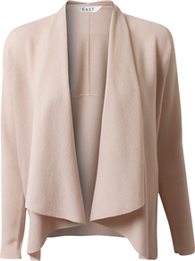 Ribbed Swing Cardigan, Limestone - pattern: plain; neckline: waterfall neck; style: open front; predominant colour: stone; occasions: casual; length: standard; fibres: wool - 100%; fit: standard fit; sleeve length: long sleeve; sleeve style: standard; texture group: knits/crochet; pattern type: knitted - other