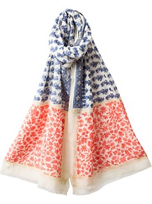Double Floral Scarf, Multi - predominant colour: ivory; occasions: casual, evening, work, holiday; type of pattern: heavy; style: regular; size: standard; material: fabric; pattern: florals