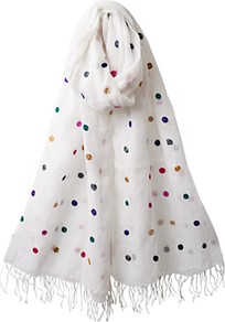 Embroidered Spot Scarf, Multi - predominant colour: white; occasions: casual, evening, work, holiday; type of pattern: light; style: regular; size: standard; material: fabric; embellishment: embroidered; pattern: polka dot