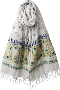 Paisley Embellished Border Scarf, Multi - predominant colour: white; occasions: casual, evening, work, holiday; type of pattern: standard; style: regular; size: standard; material: fabric; embellishment: embroidered; pattern: paisley