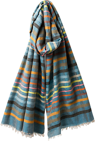 Stripe Silk Blend Scarf, Multi - predominant colour: turquoise; occasions: casual, work, holiday; type of pattern: standard; style: regular; size: standard; material: fabric; pattern: horizontal stripes