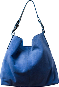 Suede Shopper Handbag, Regatta - predominant colour: royal blue; occasions: casual, occasion; type of pattern: standard; style: shoulder; length: shoulder (tucks under arm); size: standard; material: suede; pattern: plain; finish: plain