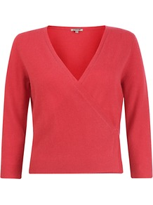 Cashmere Wrap Cardigan, Red - neckline: low v-neck; pattern: plain; style: wrap; predominant colour: coral; occasions: casual, work; length: standard; fit: standard fit; fibres: cashmere - 100%; sleeve length: 3/4 length; sleeve style: standard; texture group: knits/crochet; pattern type: knitted - fine stitch