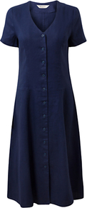 Button Front Linen Dress, Royal Blue - style: shift; length: below the knee; neckline: low v-neck; pattern: plain; bust detail: buttons at bust (in middle at breastbone)/zip detail at bust; predominant colour: navy; occasions: casual; fit: soft a-line; fibres: linen - 100%; hip detail: soft pleats at hip/draping at hip/flared at hip; sleeve length: short sleeve; sleeve style: standard; texture group: linen; pattern type: fabric