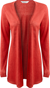 Linen Swing Cardigan - pattern: plain; length: below the bottom; neckline: collarless open; style: open front; predominant colour: true red; occasions: casual; fibres: linen - 100%; fit: loose; sleeve length: long sleeve; sleeve style: standard; texture group: linen; pattern type: fabric