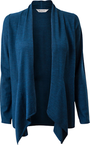 Edge To Edge Swathe Cardigan, Teal - pattern: plain; neckline: waterfall neck; style: open front; predominant colour: teal; occasions: casual; length: standard; fibres: wool - 100%; fit: loose; sleeve length: long sleeve; sleeve style: standard; texture group: knits/crochet; pattern type: knitted - fine stitch