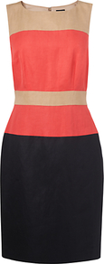 Silk Linen Colour Block Dress, Pink - style: shift; neckline: round neck; fit: tailored/fitted; sleeve style: sleeveless; predominant colour: coral; occasions: casual, evening, work, occasion; length: just above the knee; fibres: linen - mix; waist detail: narrow waistband; sleeve length: sleeveless; texture group: linen; trends: glamorous day shifts; pattern type: fabric; pattern size: standard; pattern: colourblock