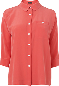Roll Sleeve Washed Silk Blouse, Pale Pink - neckline: shirt collar/peter pan/zip with opening; pattern: plain; style: blouse; predominant colour: pink; occasions: casual, work; length: standard; fibres: silk - 100%; fit: straight cut; sleeve length: 3/4 length; sleeve style: standard; texture group: sheer fabrics/chiffon/organza etc.; pattern type: fabric; pattern size: standard