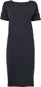 3/4 Roll Sleeve Jersey Dress, Navy - style: t-shirt; length: below the knee; neckline: round neck; pattern: plain; predominant colour: navy; occasions: casual; fit: body skimming; fibres: cotton - stretch; sleeve length: short sleeve; sleeve style: standard; pattern type: fabric; texture group: jersey - stretchy/drapey