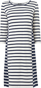 Bodycon Striped Jersey Dress, Navy - style: t-shirt; neckline: round neck; pattern: horizontal stripes; predominant colour: ivory; secondary colour: navy; occasions: casual; length: just above the knee; fit: body skimming; fibres: cotton - stretch; sleeve length: 3/4 length; sleeve style: standard; pattern type: fabric; pattern size: standard; texture group: jersey - stretchy/drapey
