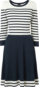 Breton Pleated Knit Dress, Navy - neckline: round neck; pattern: horizontal stripes; waist detail: fitted waist; secondary colour: ivory; predominant colour: navy; occasions: casual, work, holiday; length: just above the knee; fit: fitted at waist &amp; bust; style: fit &amp; flare; fibres: cotton - 100%; hip detail: contrast fabric/print detail at hip; sleeve length: 3/4 length; sleeve style: standard; pattern type: fabric; pattern size: standard; texture group: jersey - stretchy/drapey