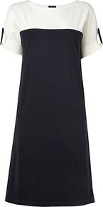 Colour Block Jersey Dress, Navy - style: shift; neckline: round neck; pattern: plain; shoulder detail: contrast pattern/fabric at shoulder; secondary colour: white; predominant colour: navy; occasions: casual; length: on the knee; fit: soft a-line; fibres: cotton - stretch; sleeve length: short sleeve; sleeve style: standard; pattern type: fabric; texture group: jersey - stretchy/drapey