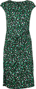 Print Twist Dress, Green - style: shift; neckline: round neck; sleeve style: capped; waist detail: twist front waist detail/nipped in at waist on one side/soft pleats/draping/ruching/gathering waist detail; predominant colour: emerald green; secondary colour: black; occasions: evening; length: on the knee; fit: body skimming; fibres: viscose/rayon - 100%; sleeve length: sleeveless; pattern type: fabric; pattern size: small & busy; pattern: patterned/print; texture group: jersey - stretchy/drapey