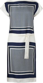Scarf Print Dress, Ivory - style: tunic; neckline: slash/boat neckline; waist detail: belted waist/tie at waist/drawstring; predominant colour: ivory; secondary colour: navy; occasions: evening; length: just above the knee; fit: straight cut; fibres: silk - 100%; sleeve length: short sleeve; sleeve style: standard; texture group: silky - light; pattern type: fabric; pattern size: big & busy; pattern: patterned/print