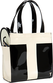 Chinzer Patent Shopper Bag With Matching Sandals, Black - secondary colour: white; predominant colour: black; occasions: casual, evening, work; type of pattern: light; style: tote; length: handle; size: standard; material: plastic/rubber; pattern: plain; trends: striking stripes; finish: patent