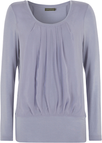 Silk Panel Jersey T Shirt, Blue - neckline: round neck; pattern: plain; style: blouson; predominant colour: denim; occasions: casual; length: standard; fibres: viscose/rayon - stretch; fit: loose; sleeve length: long sleeve; sleeve style: standard; texture group: silky - light; bust detail: tiers/frills/bulky drapes/pleats; pattern type: fabric