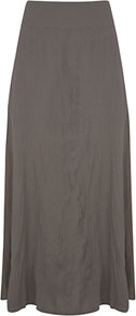 Maxi Skirt, Green Khaki - pattern: plain; fit: body skimming; waist detail: wide waistband/cummerbund; waist: mid/regular rise; predominant colour: taupe; occasions: casual, holiday; length: floor length; style: maxi skirt; fibres: polyester/polyamide - mix; hip detail: soft pleats at hip/draping at hip/flared at hip; pattern type: fabric; texture group: jersey - stretchy/drapey