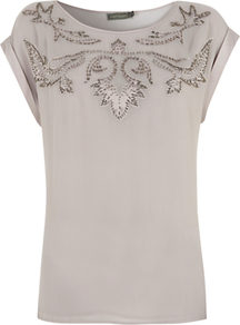 Beaded Top, Grey - sleeve style: capped; pattern: plain; bust detail: added detail/embellishment at bust; predominant colour: stone; occasions: casual, evening; length: standard; style: top; fibres: viscose/rayon - 100%; fit: straight cut; neckline: crew; sleeve length: short sleeve; texture group: sheer fabrics/chiffon/organza etc.; pattern type: fabric; embellishment: beading