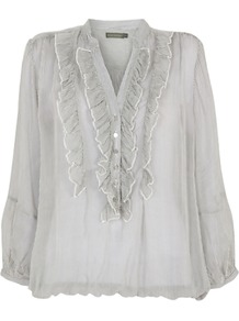 Striped Blouse, Ivory/Grey - pattern: pinstripe; sleeve style: balloon; style: blouse; secondary colour: ivory; predominant colour: light grey; occasions: casual, evening; length: standard; neckline: mandarin with v-neck; fibres: viscose/rayon - 100%; fit: loose; sleeve length: long sleeve; texture group: sheer fabrics/chiffon/organza etc.; bust detail: tiers/frills/bulky drapes/pleats; pattern type: fabric; pattern size: small & light