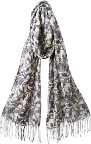 Abida Print Scarf, Light Jute - predominant colour: ivory; secondary colour: denim; occasions: casual; style: regular; size: standard; embellishment: fringing; pattern: florals